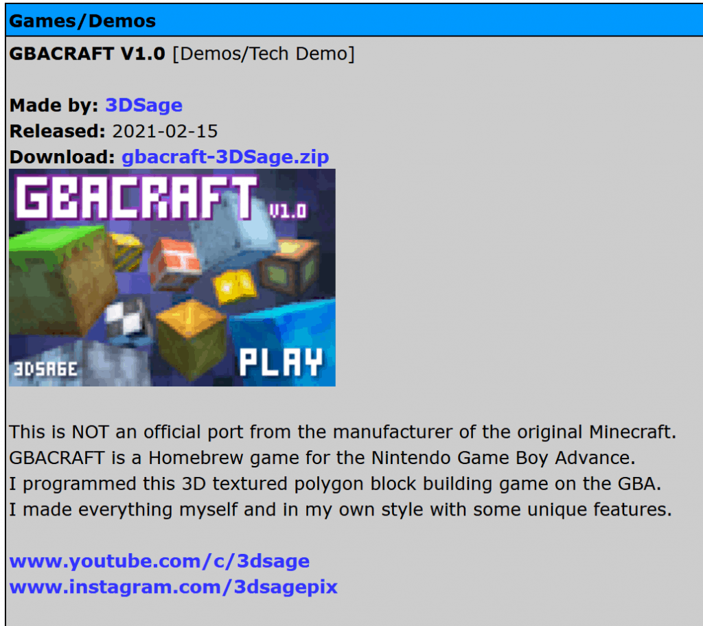 Minecraft on Game Boy Advance